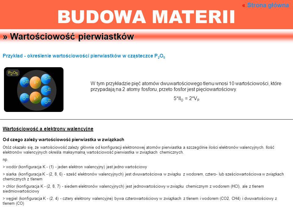 » Wartościowość pierwiastków Przykład - określenie wartościowości pierwiastków w cząsteczce P 2 O 5 W tym przykładzie pięć atomów dwuwartościowego tle