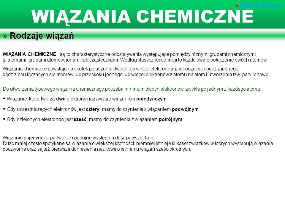 WIĄZANIA CHEMICZNE - są to charakterystyczne oddziaływania występujące pomiędzy różnymi grupami chemicznymi, tj. atomami, grupami atomów, jonami lub c