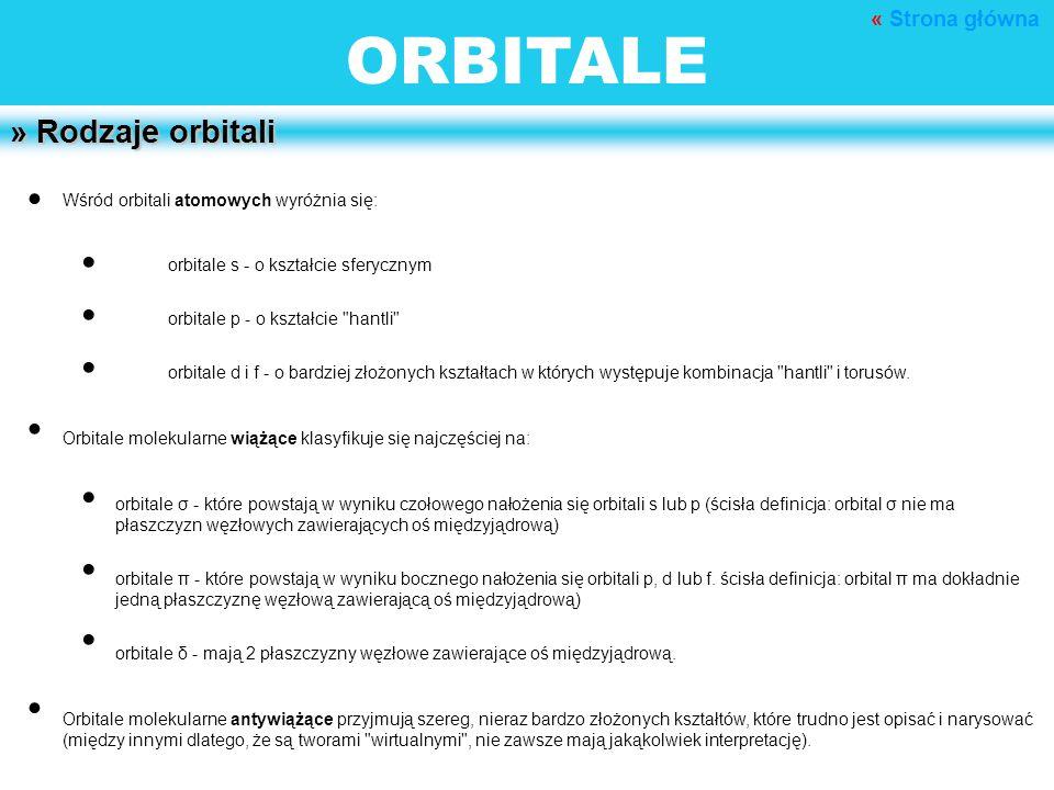ORBITALE » Rodzaje orbitali Wśród orbitali atomowych wyróżnia się: orbitale s - o kształcie sferycznym orbitale p - o kształcie