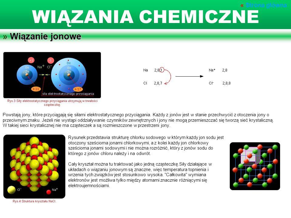 » Wiązanie jonowe Powstają jony, które przyciągają się siłami elektrostatycznego przyciągania. Każdy z jonów jest w stanie przechwycić z otoczenia jon