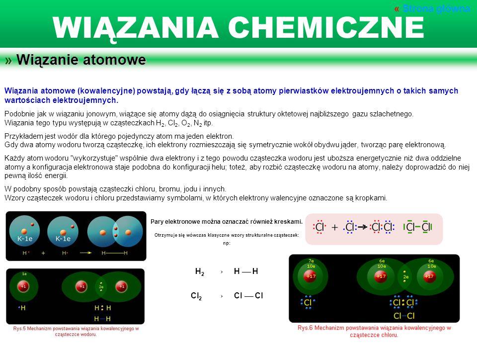 » Wiązanie atomowe Wiązania atomowe (kowalencyjne) powstają, gdy łączą się z sobą atomy pierwiastków elektroujemnych o takich samych wartościach elekt