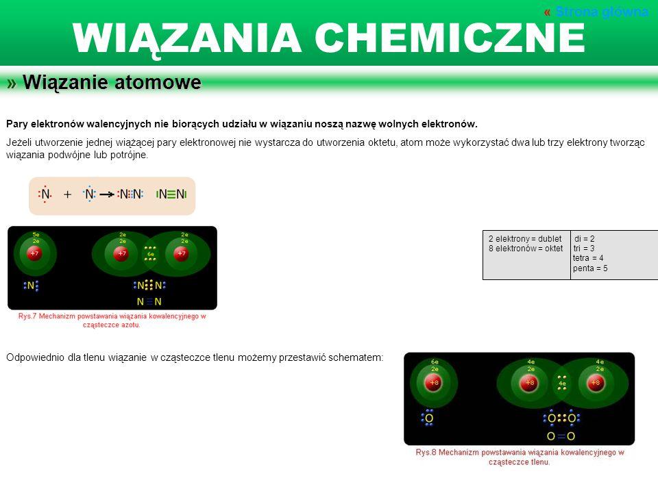 » Wiązanie atomowe Pary elektronów walencyjnych nie biorących udziału w wiązaniu noszą nazwę wolnych elektronów. Jeżeli utworzenie jednej wiążącej par