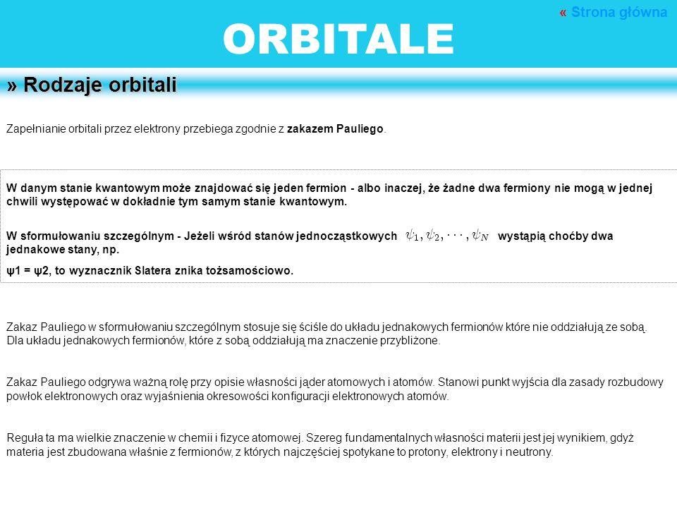 ORBITALE » Rodzaje orbitali Zapełnianie orbitali przez elektrony przebiega zgodnie z zakazem Pauliego. W danym stanie kwantowym może znajdować się jed