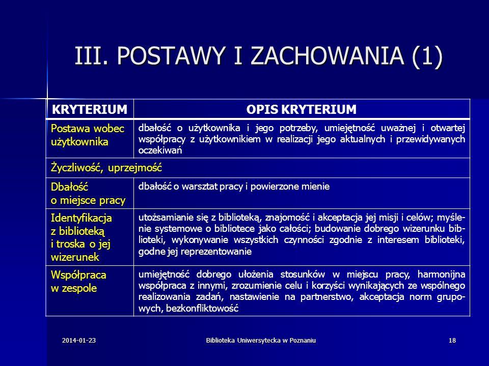 III. POSTAWY I ZACHOWANIA (1) KRYTERIUMOPIS KRYTERIUM Postawa wobec użytkownika dbałość o użytkownika i jego potrzeby, umiejętność uważnej i otwartej