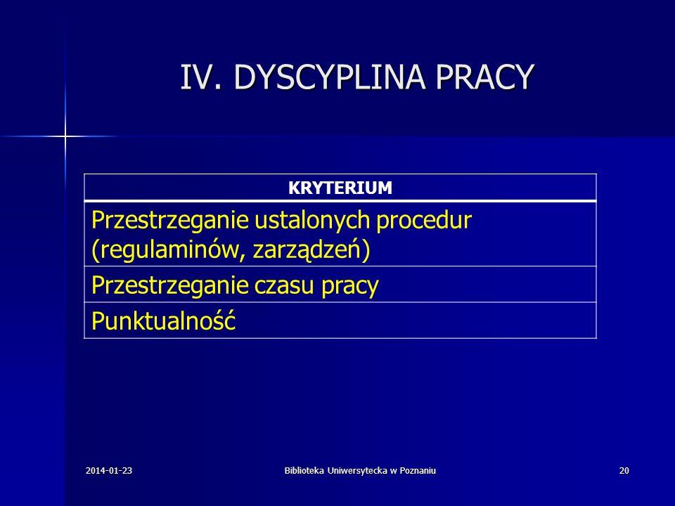 IV. DYSCYPLINA PRACY KRYTERIUM Przestrzeganie ustalonych procedur (regulaminów, zarządzeń) Przestrzeganie czasu pracy Punktualność 2014-01-23Bibliotek