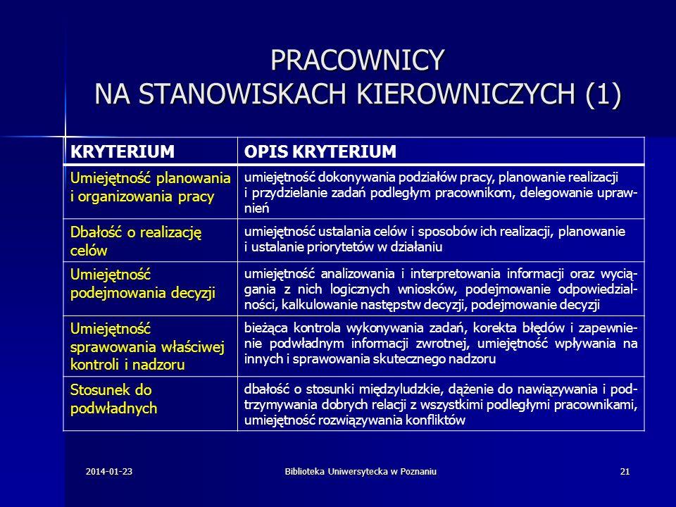 PRACOWNICY NA STANOWISKACH KIEROWNICZYCH (1) KRYTERIUMOPIS KRYTERIUM Umiejętność planowania i organizowania pracy umiejętność dokonywania podziałów pr