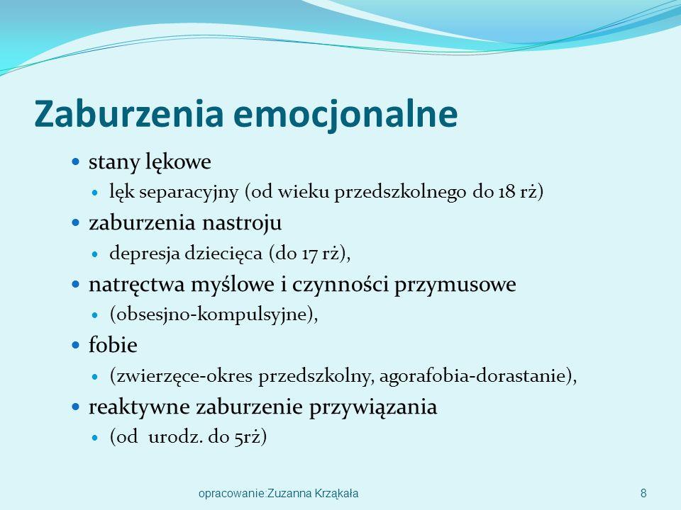 Zaburzenia emocjonalne stany lękowe lęk separacyjny (od wieku przedszkolnego do 18 rż) zaburzenia nastroju depresja dziecięca (do 17 rż), natręctwa myślowe i czynności przymusowe (obsesjno-kompulsyjne), fobie (zwierzęce-okres przedszkolny, agorafobia-dorastanie), reaktywne zaburzenie przywiązania (od urodz.