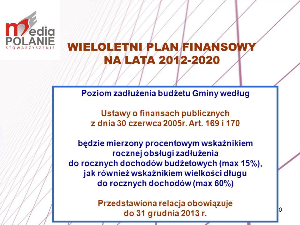 10 WIELOLETNI PLAN FINANSOWY NA LATA 2012-2020 Poziom zadłużenia budżetu Gminy według Ustawy o finansach publicznych z dnia 30 czerwca 2005r. Art. 169