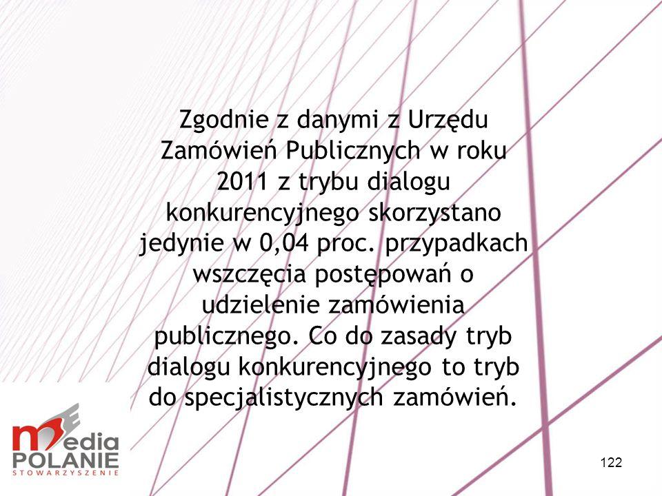 122 Zgodnie z danymi z Urzędu Zam ó wień Publicznych w roku 2011 z trybu dialogu konkurencyjnego skorzystano jedynie w 0,04 proc. przypadkach wszczęci