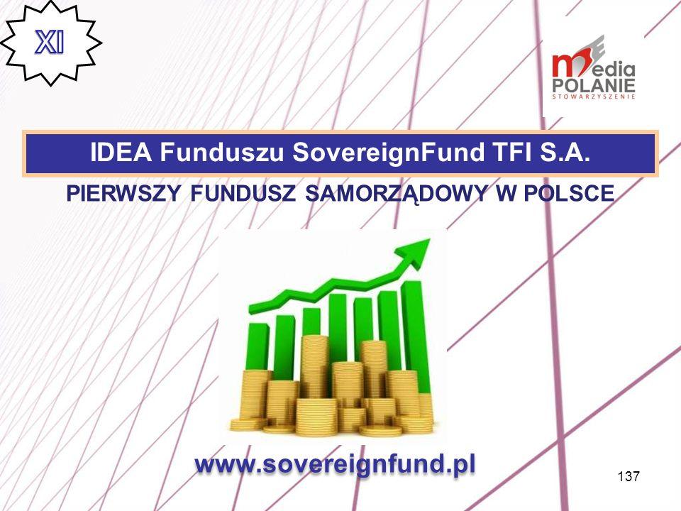 137 IDEA Funduszu SovereignFund TFI S.A. www.sovereignfund.pl PIERWSZY FUNDUSZ SAMORZĄDOWY W POLSCE