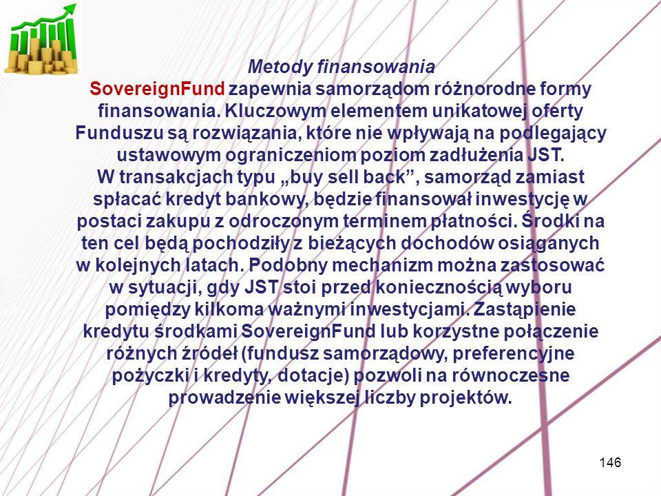 146 Metody finansowania SovereignFund zapewnia samorządom różnorodne formy finansowania. Kluczowym elementem unikatowej oferty Funduszu są rozwiązania