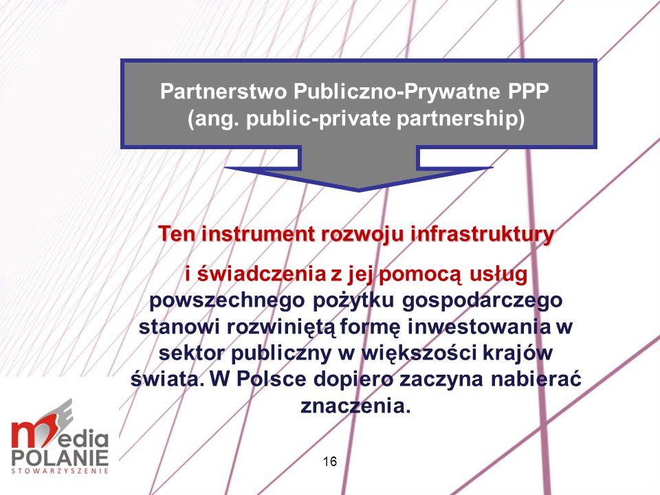 16 Ten instrument rozwoju infrastruktury i świadczenia z jej pomocą usług powszechnego pożytku gospodarczego stanowi rozwiniętą formę inwestowania w s