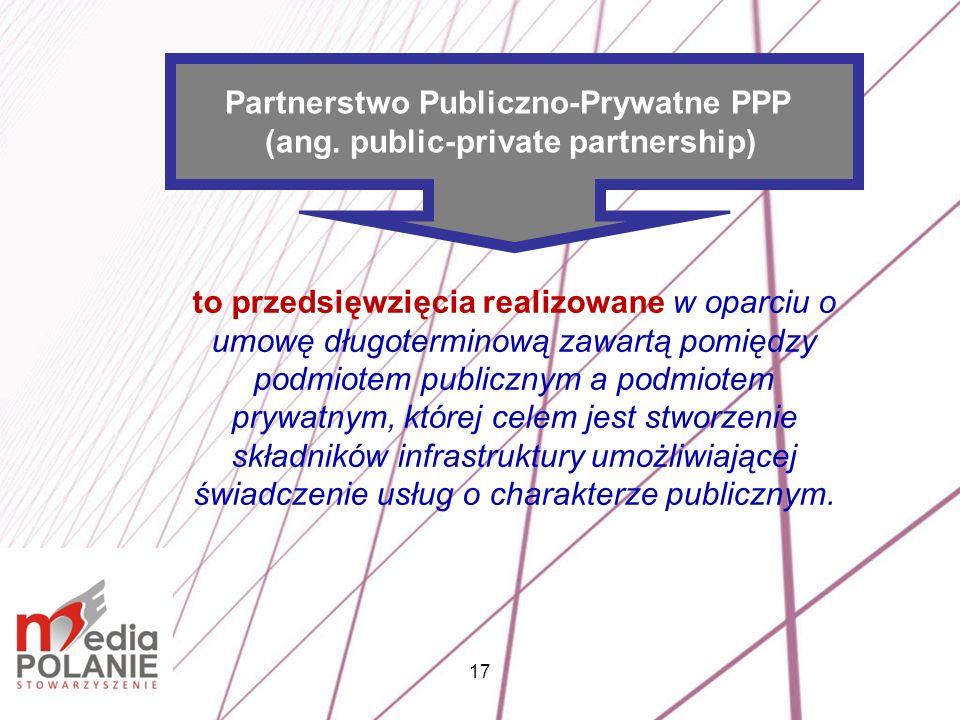 17 to przedsięwzięcia realizowane w oparciu o umowę długoterminową zawartą pomiędzy podmiotem publicznym a podmiotem prywatnym, której celem jest stwo