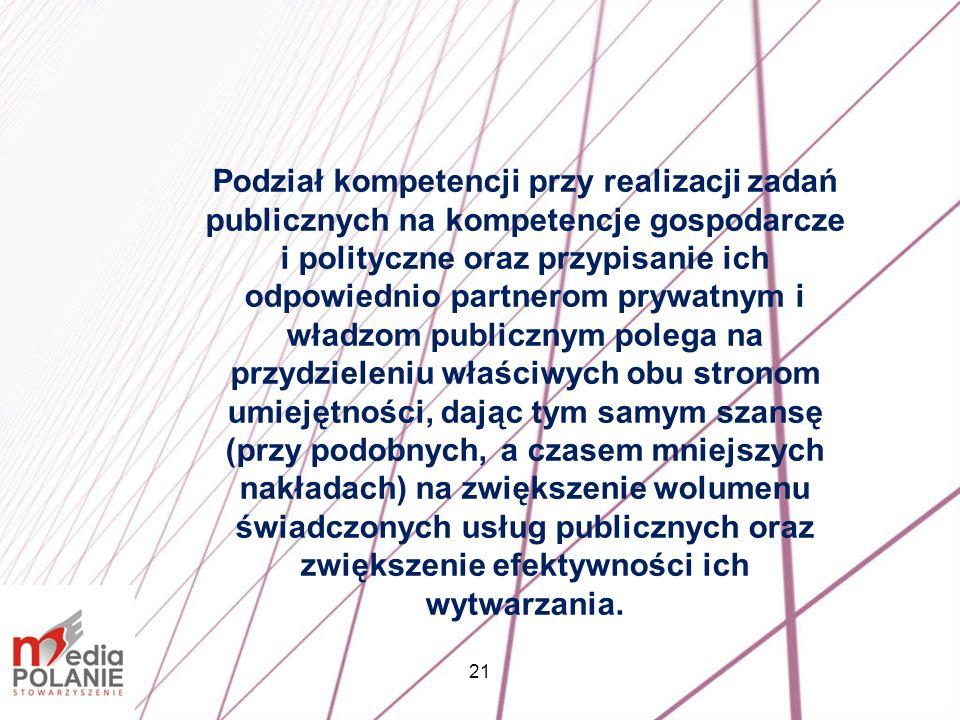 21 Podział kompetencji przy realizacji zadań publicznych na kompetencje gospodarcze i polityczne oraz przypisanie ich odpowiednio partnerom prywatnym