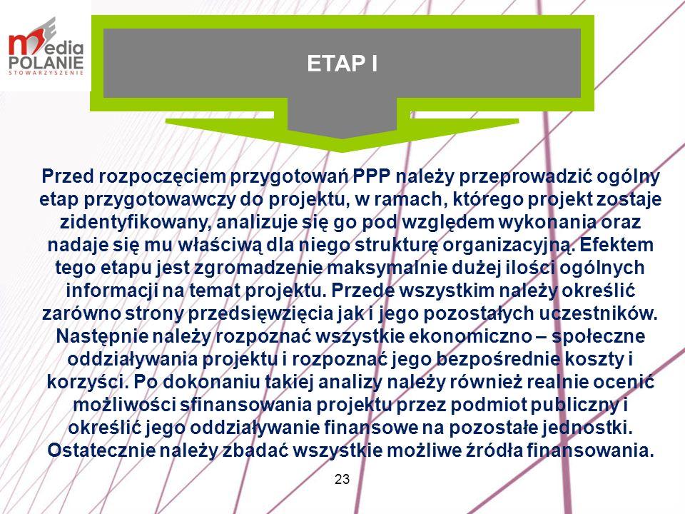 23 Przed rozpoczęciem przygotowań PPP należy przeprowadzić ogólny etap przygotowawczy do projektu, w ramach, którego projekt zostaje zidentyfikowany,