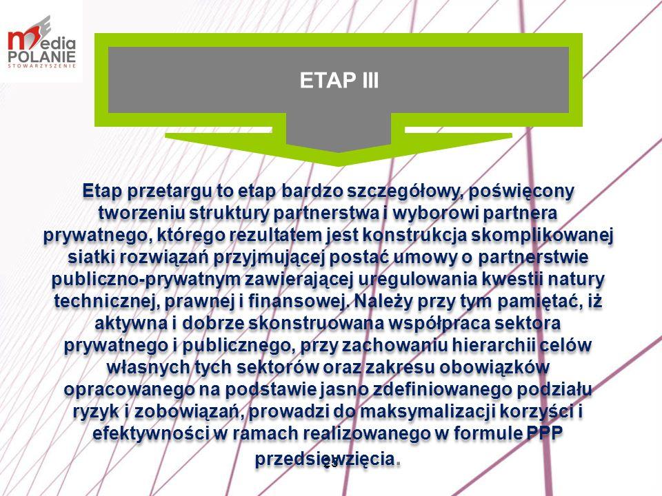 25 Etap przetargu to etap bardzo szczegółowy, poświęcony tworzeniu struktury partnerstwa i wyborowi partnera prywatnego, którego rezultatem jest konst