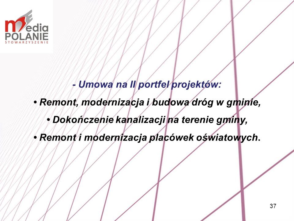 37 - Umowa na II portfel projektów: Remont, modernizacja i budowa dróg w gminie, Dokończenie kanalizacji na terenie gminy, Remont i modernizacja placó