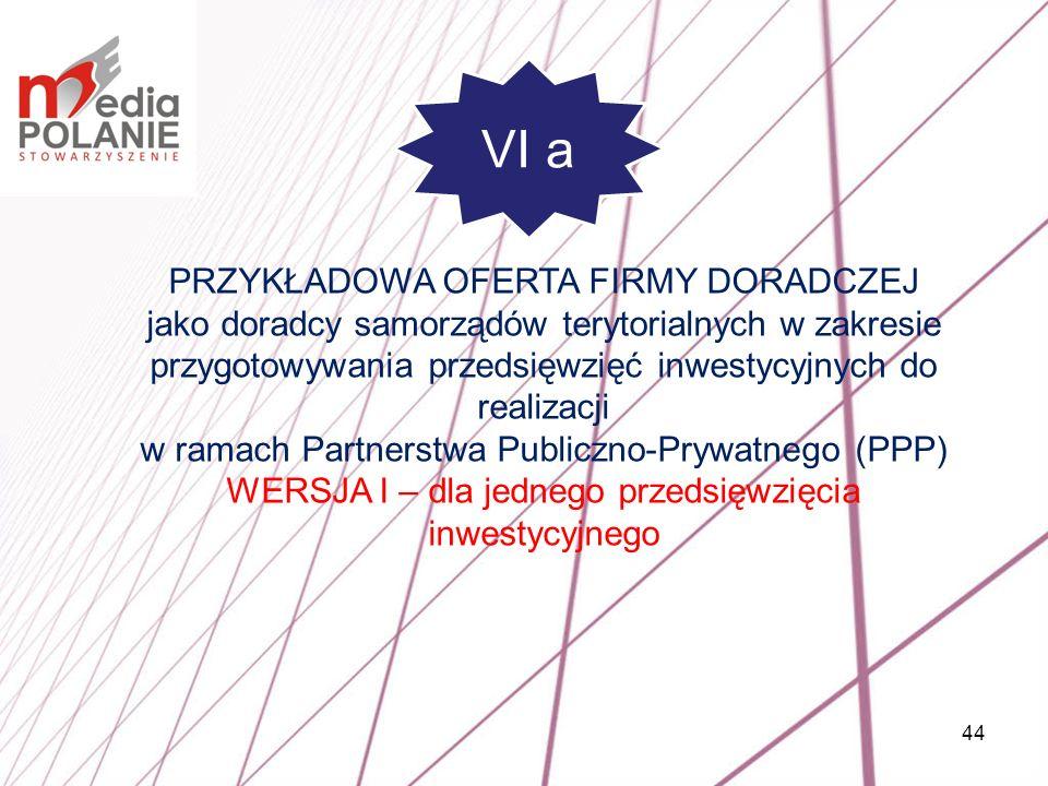 44 PRZYKŁADOWA OFERTA FIRMY DORADCZEJ jako doradcy samorządów terytorialnych w zakresie przygotowywania przedsięwzięć inwestycyjnych do realizacji w r