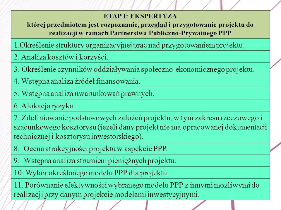 45 ETAP I: EKSPERTYZA której przedmiotem jest rozpoznanie, przegląd i przygotowanie projektu do realizacji w ramach Partnerstwa Publiczno-Prywatnego P