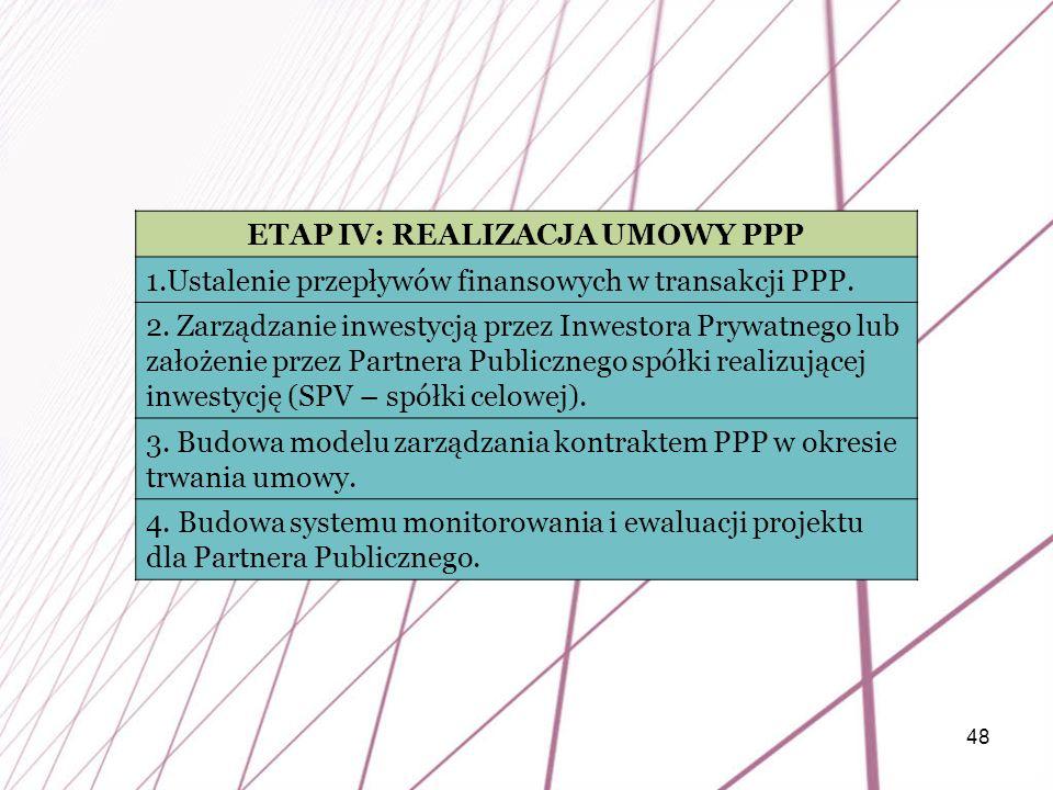 48 ETAP IV: REALIZACJA UMOWY PPP 1.Ustalenie przepływów finansowych w transakcji PPP. 2. Zarządzanie inwestycją przez Inwestora Prywatnego lub założen