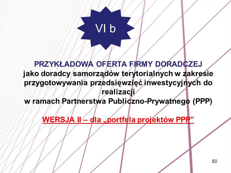 50 PRZYKŁADOWA OFERTA FIRMY DORADCZEJ jako doradcy samorządów terytorialnych w zakresie przygotowywania przedsięwzięć inwestycyjnych do realizacji w r