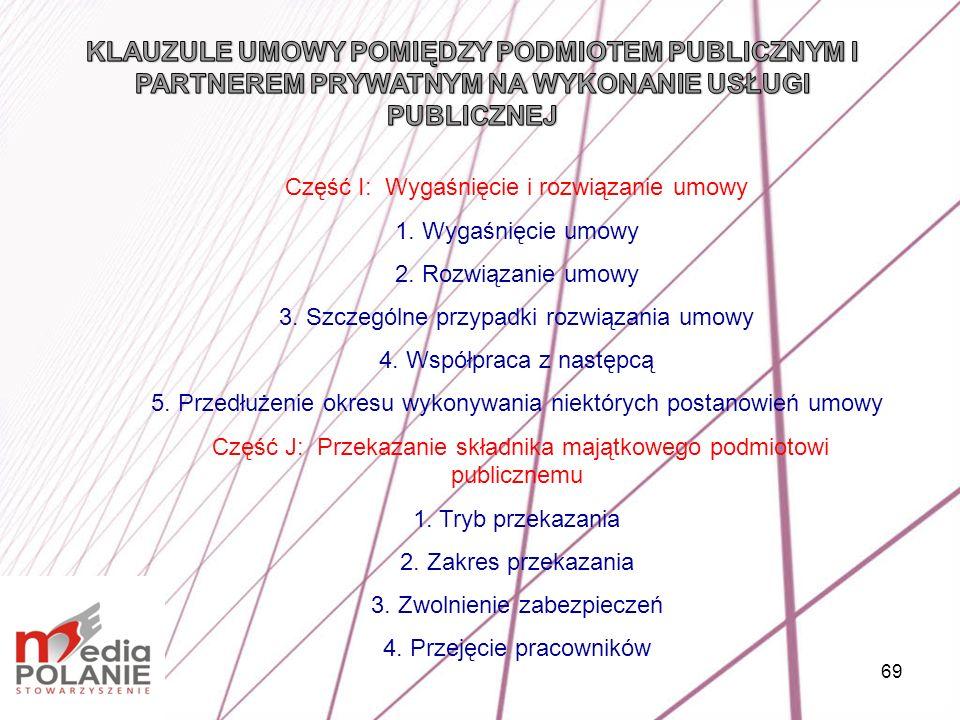 69 Część I: Wygaśnięcie i rozwiązanie umowy 1. Wygaśnięcie umowy 2. Rozwiązanie umowy 3. Szczególne przypadki rozwiązania umowy 4. Współpraca z następ