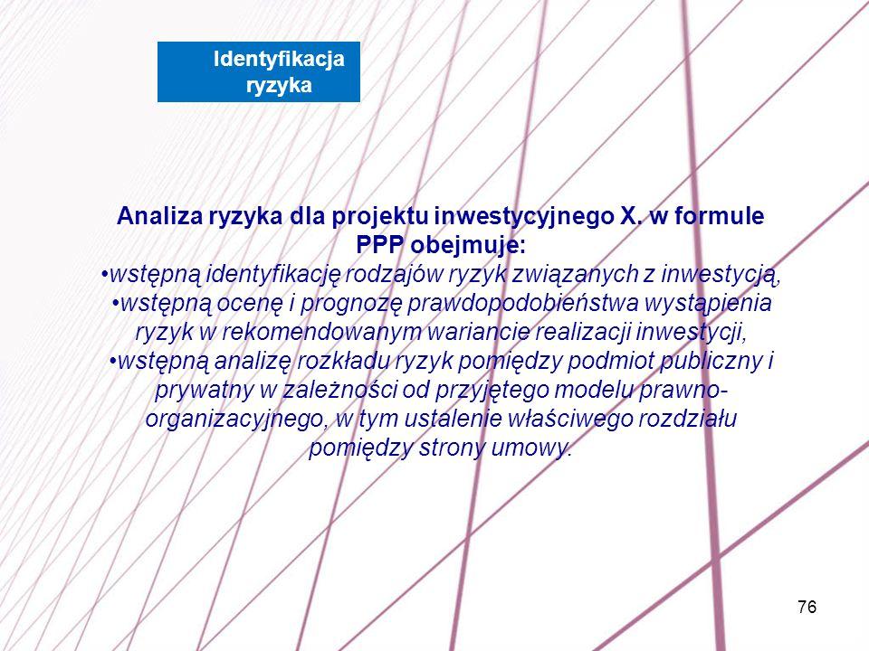 76 Analiza ryzyka dla projektu inwestycyjnego X. w formule PPP obejmuje: wstępną identyfikację rodzajów ryzyk związanych z inwestycją, wstępną ocenę i