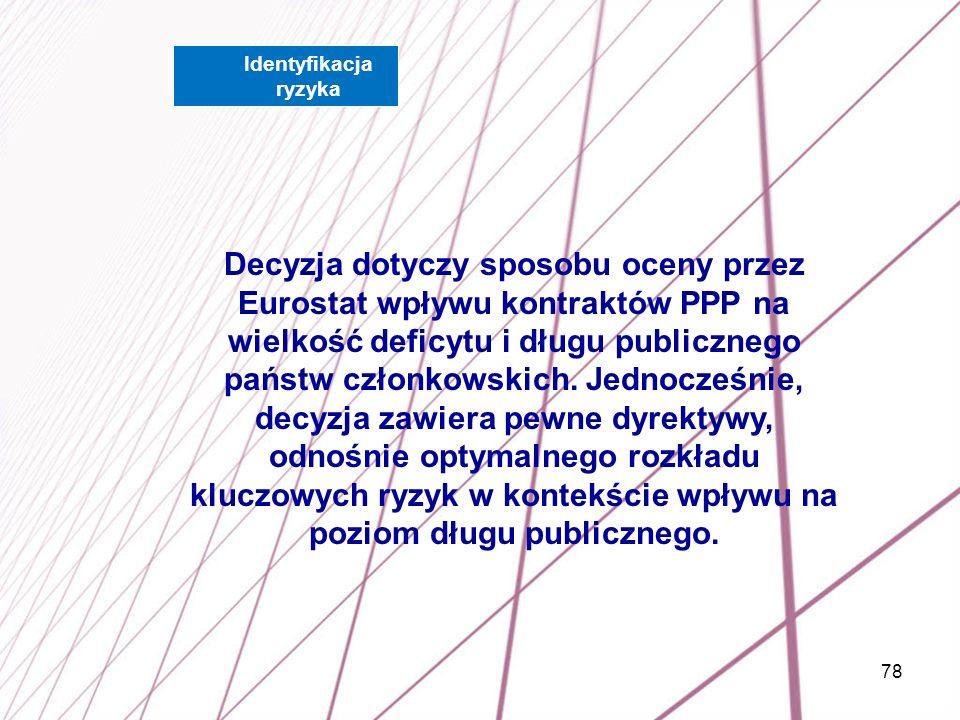 78 Decyzja dotyczy sposobu oceny przez Eurostat wpływu kontraktów PPP na wielkość deficytu i długu publicznego państw członkowskich. Jednocześnie, dec