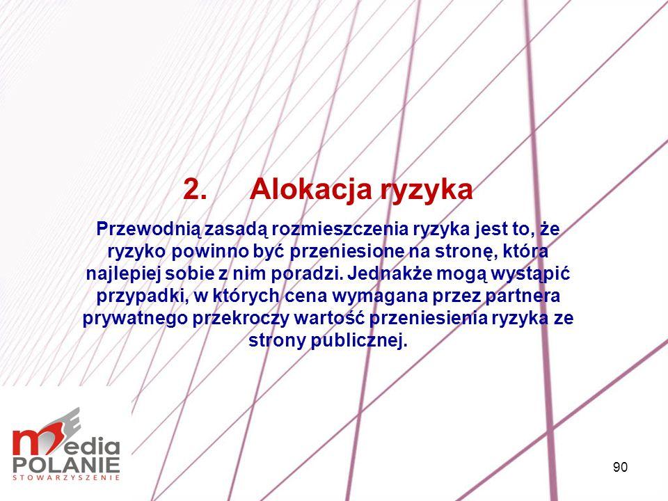 90 2.Alokacja ryzyka Przewodnią zasadą rozmieszczenia ryzyka jest to, że ryzyko powinno być przeniesione na stronę, która najlepiej sobie z nim poradz