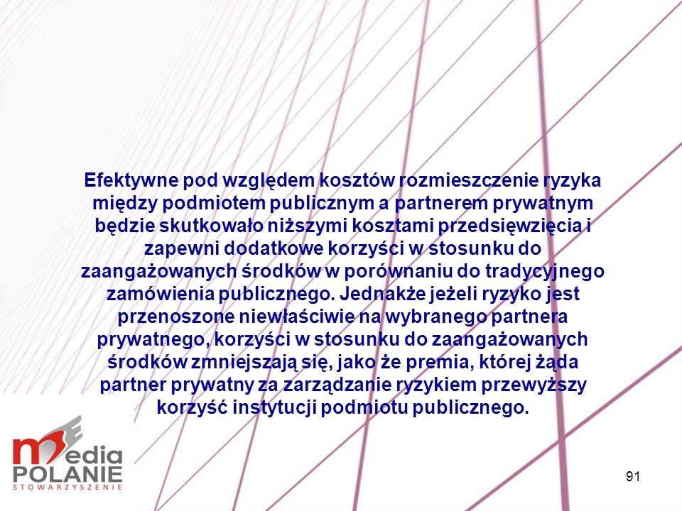 91 Efektywne pod względem kosztów rozmieszczenie ryzyka między podmiotem publicznym a partnerem prywatnym będzie skutkowało niższymi kosztami przedsię