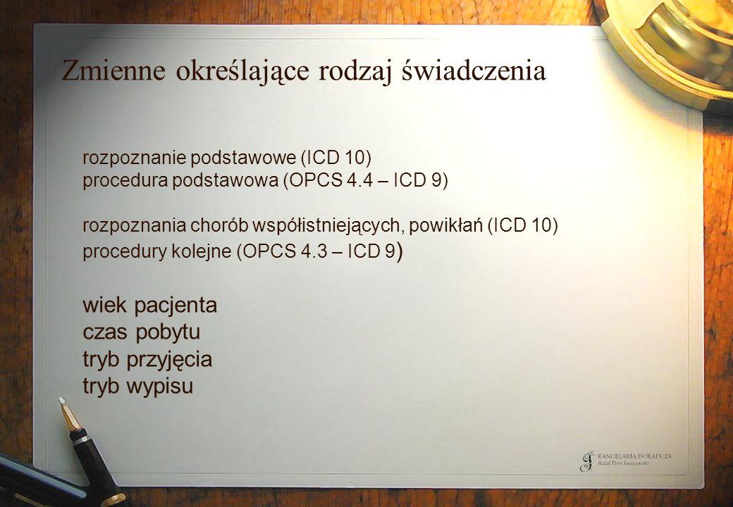 Zmienne określające rodzaj świadczenia rozpoznanie podstawowe (ICD 10) procedura podstawowa (OPCS 4.4 – ICD 9) rozpoznania chorób współistniejących, p