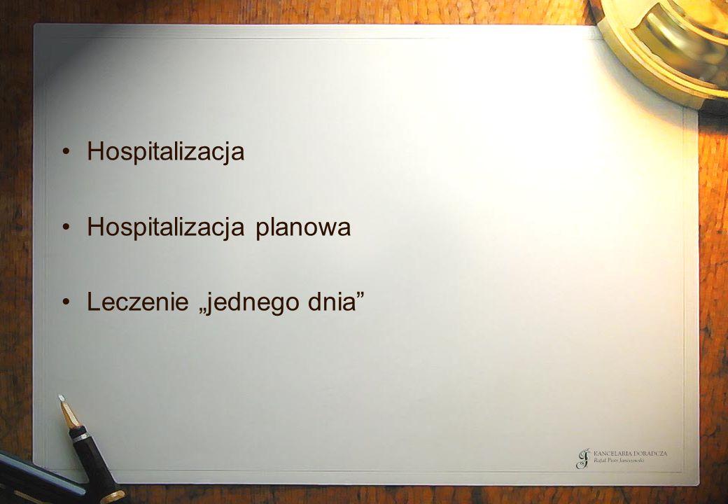 Hospitalizacja Hospitalizacja planowa Leczenie jednego dnia