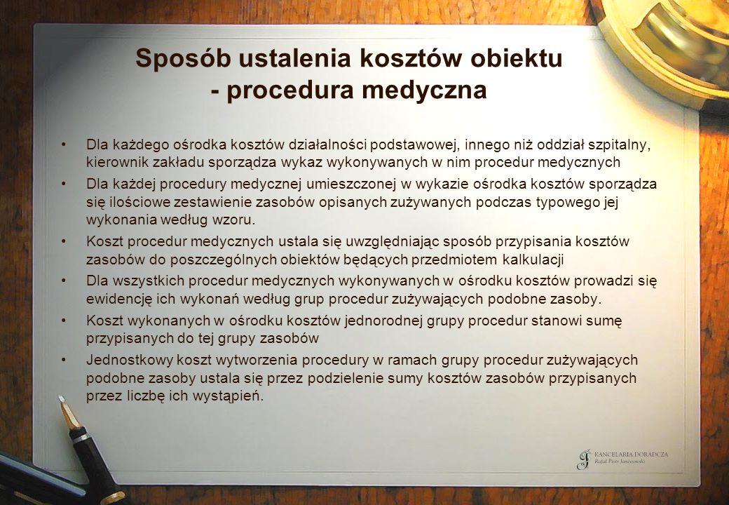 Sposób ustalenia kosztów obiektu - procedura medyczna Dla każdego ośrodka kosztów działalności podstawowej, innego niż oddział szpitalny, kierownik za
