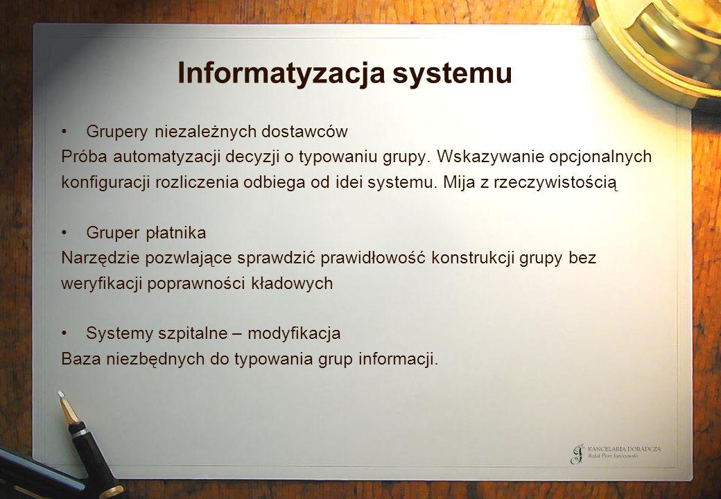 Informatyzacja systemu Grupery niezależnych dostawców Próba automatyzacji decyzji o typowaniu grupy. Wskazywanie opcjonalnych konfiguracji rozliczenia