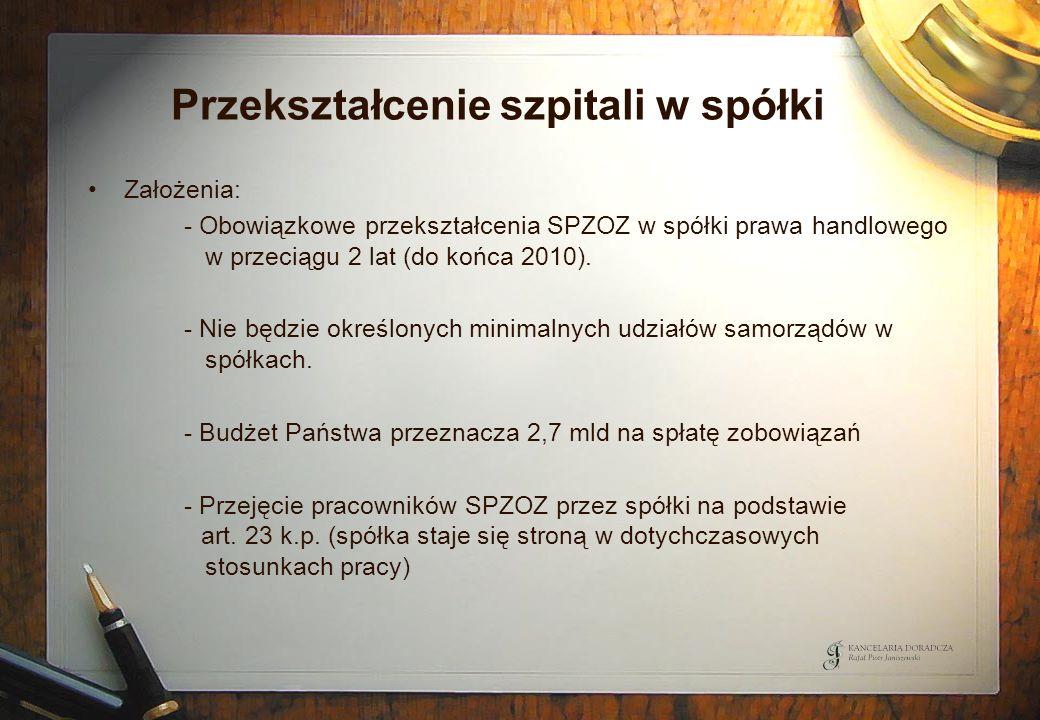 Przekształcenie szpitali w spółki Założenia: - Obowiązkowe przekształcenia SPZOZ w spółki prawa handlowego w przeciągu 2 lat (do końca 2010). - Nie bę