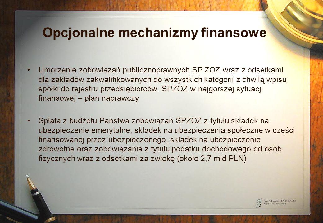 Opcjonalne mechanizmy finansowe Umorzenie zobowiązań publicznoprawnych SP ZOZ wraz z odsetkami dla zakładów zakwalifikowanych do wszystkich kategorii