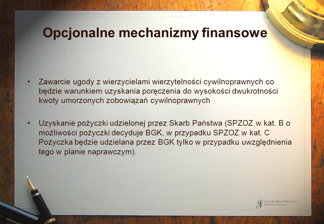 Opcjonalne mechanizmy finansowe Zawarcie ugody z wierzycielami wierzytelności cywilnoprawnych co będzie warunkiem uzyskania poręczenia do wysokości dw