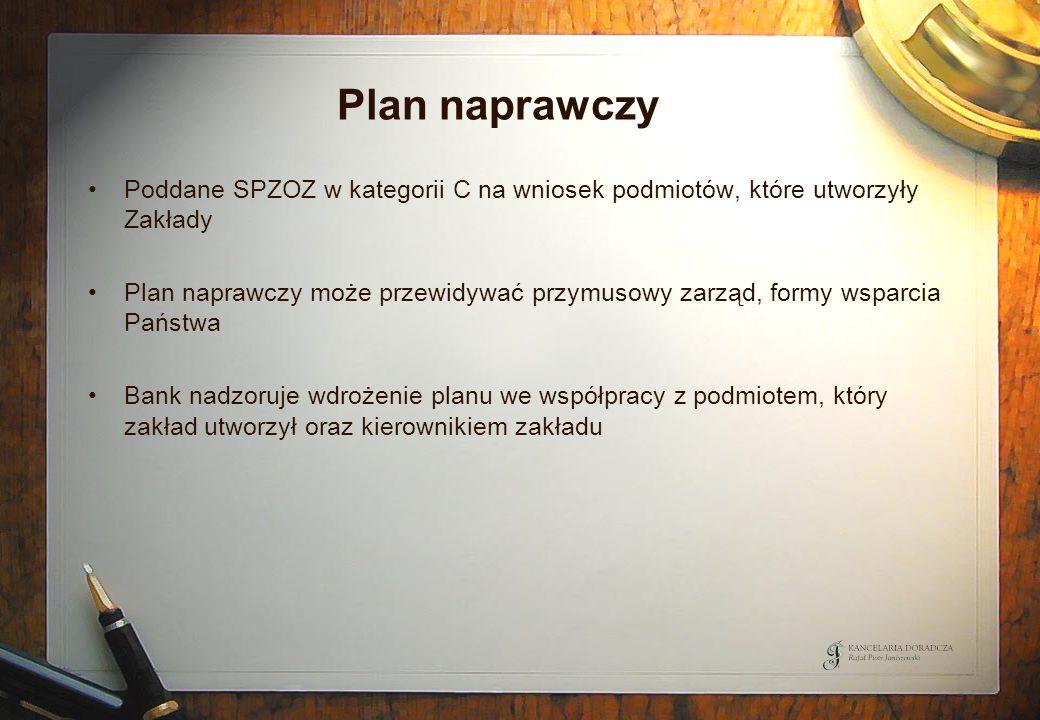 Plan naprawczy Poddane SPZOZ w kategorii C na wniosek podmiotów, które utworzyły Zakłady Plan naprawczy może przewidywać przymusowy zarząd, formy wspa