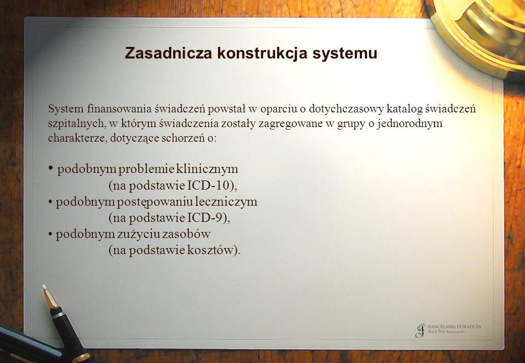 Zasadnicza konstrukcja systemu System finansowania świadczeń powstał w oparciu o dotychczasowy katalog świadczeń szpitalnych, w którym świadczenia zos