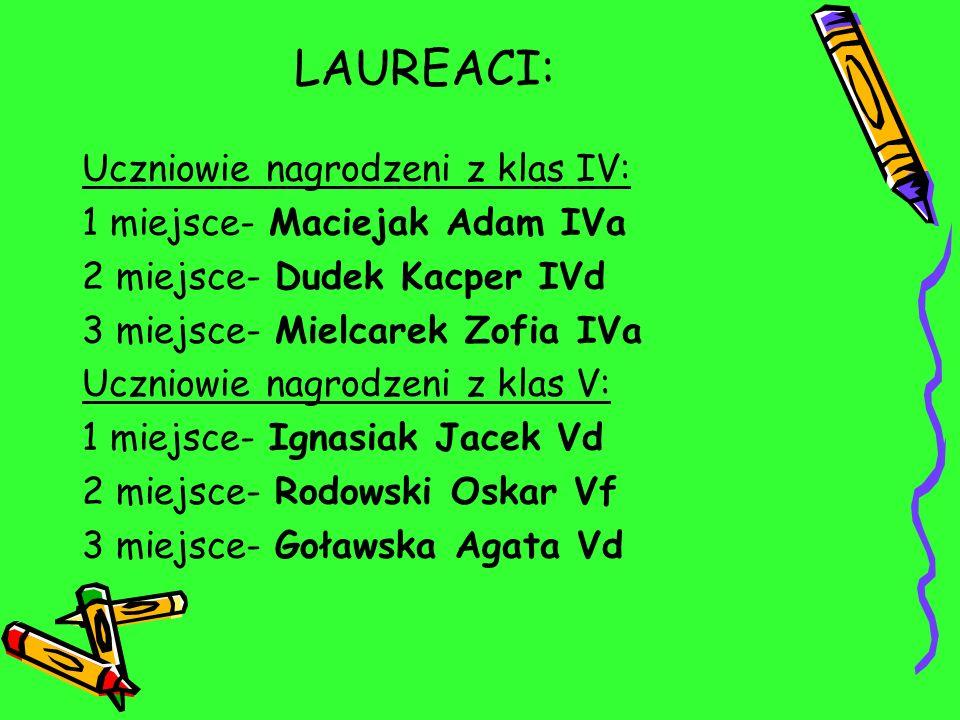 LAUREACI: Uczniowie nagrodzeni z klas IV: 1 miejsce- Maciejak Adam IVa 2 miejsce- Dudek Kacper IVd 3 miejsce- Mielcarek Zofia IVa Uczniowie nagrodzeni