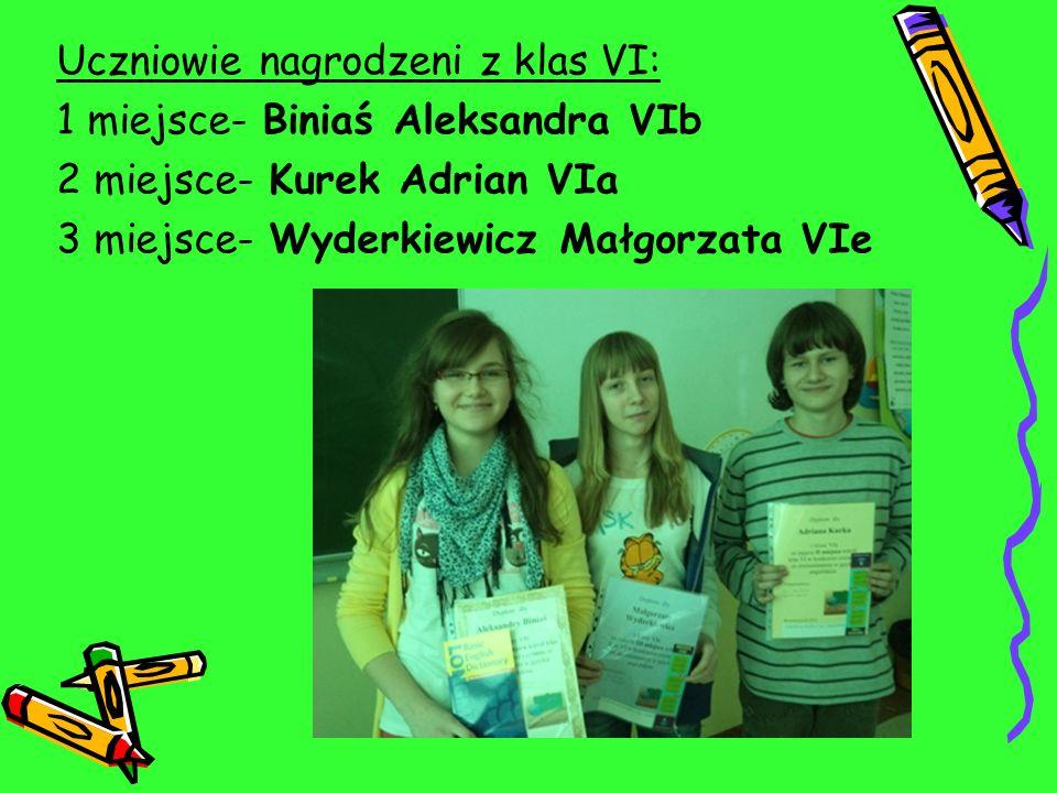 Uczniowie nagrodzeni z klas VI: 1 miejsce- Biniaś Aleksandra VIb 2 miejsce- Kurek Adrian VIa 3 miejsce- Wyderkiewicz Małgorzata VIe
