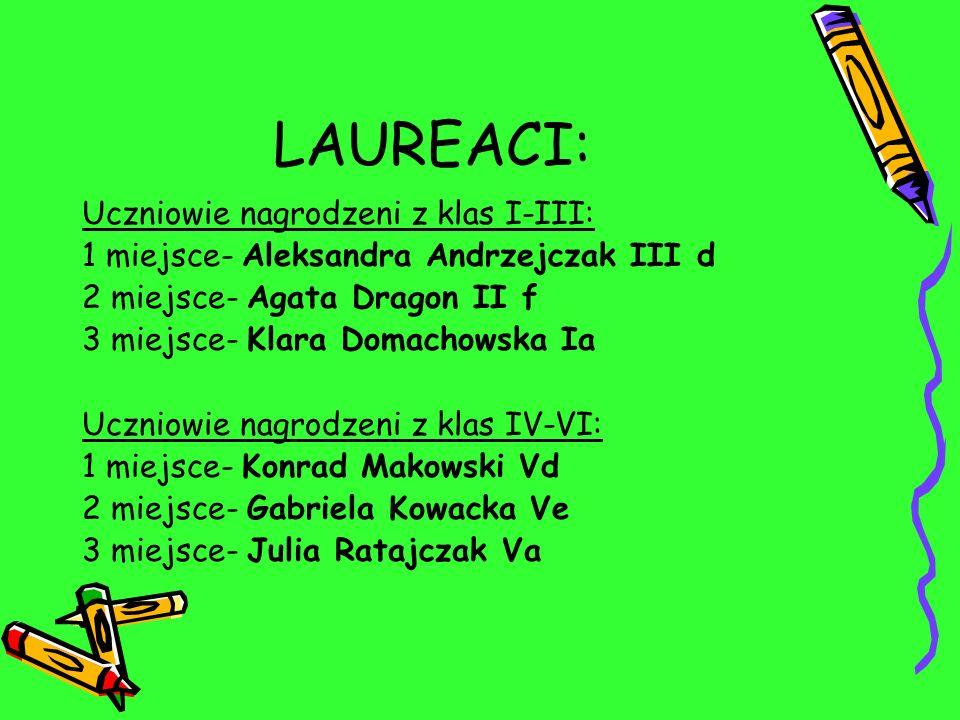LAUREACI: Uczniowie nagrodzeni z klas I-III: 1 miejsce- Aleksandra Andrzejczak III d 2 miejsce- Agata Dragon II f 3 miejsce- Klara Domachowska Ia Uczn