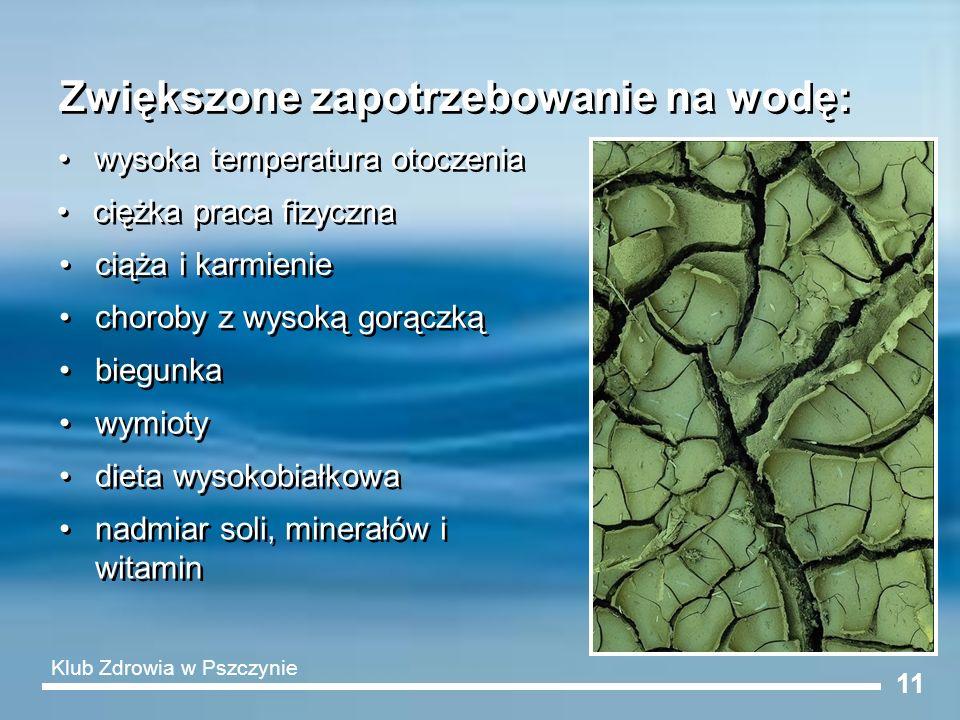 11 Zwiększone zapotrzebowanie na wodę: wysoka temperatura otoczenia ciężka praca fizyczna ciąża i karmienie choroby z wysoką gorączką biegunka wymioty