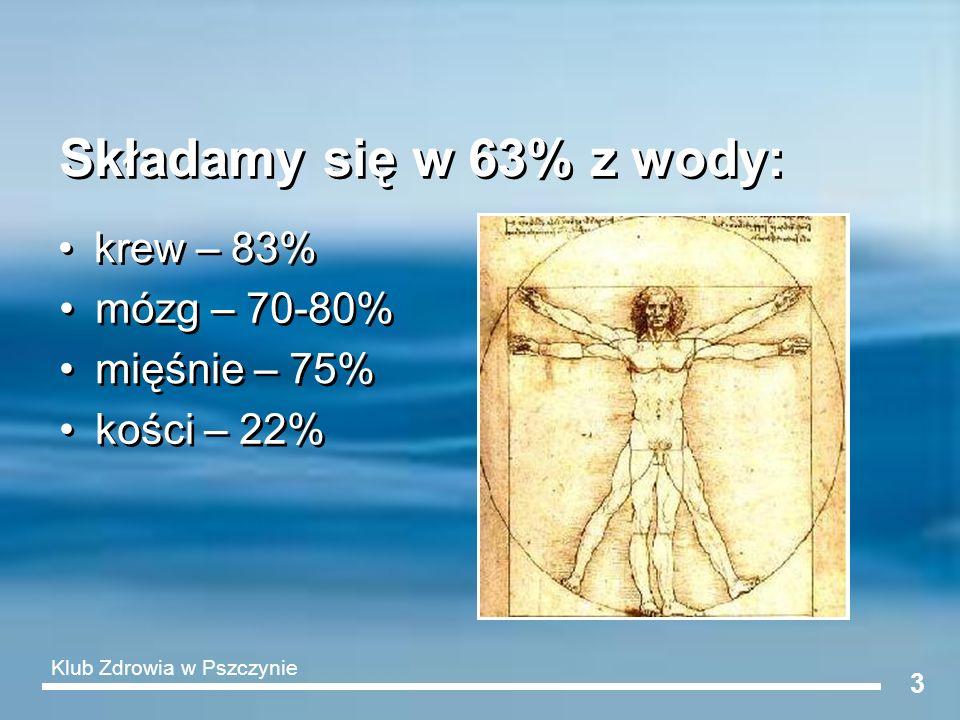 3 Składamy się w 63% z wody: krew – 83% kości – 22% mózg – 70-80% mięśnie – 75% Klub Zdrowia w Pszczynie