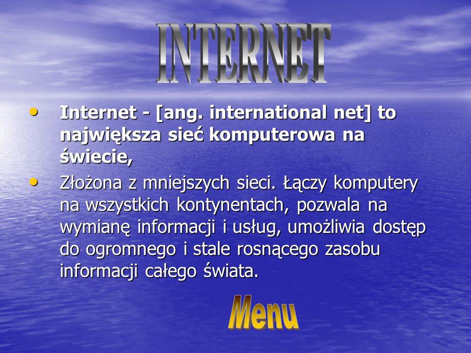 Internet - [ang.international net] to największa sieć komputerowa na świecie, Internet - [ang.