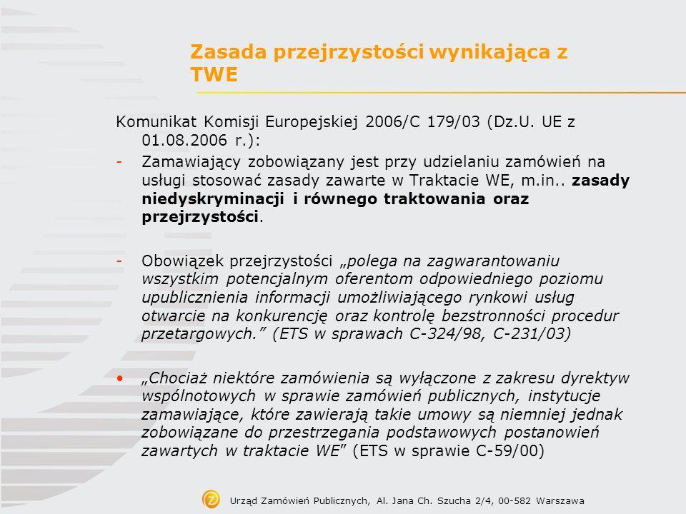 Zasada przejrzystości wynikająca z TWE Komunikat Komisji Europejskiej 2006/C 179/03 (Dz.U. UE z 01.08.2006 r.): -Zamawiający zobowiązany jest przy udz