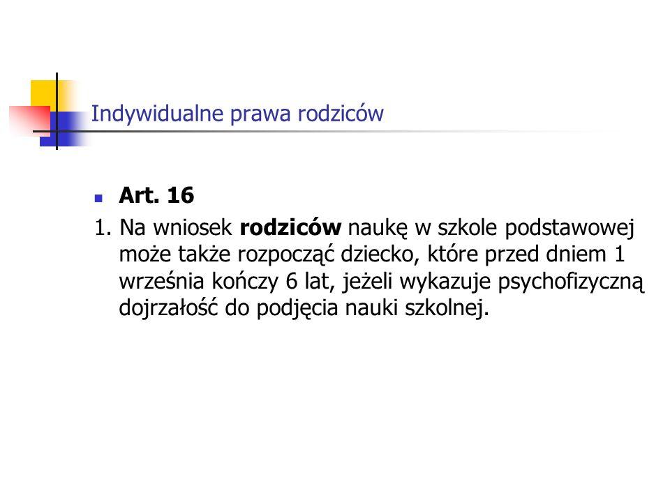 Indywidualne prawa rodziców Art.16 1.