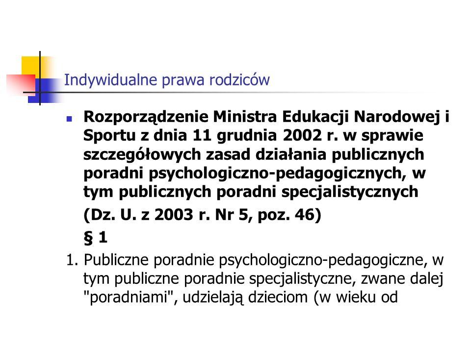 Indywidualne prawa rodziców Rozporządzenie Ministra Edukacji Narodowej i Sportu z dnia 11 grudnia 2002 r.