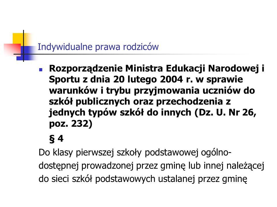 Indywidualne prawa rodziców Rozporządzenie Ministra Edukacji Narodowej i Sportu z dnia 20 lutego 2004 r.