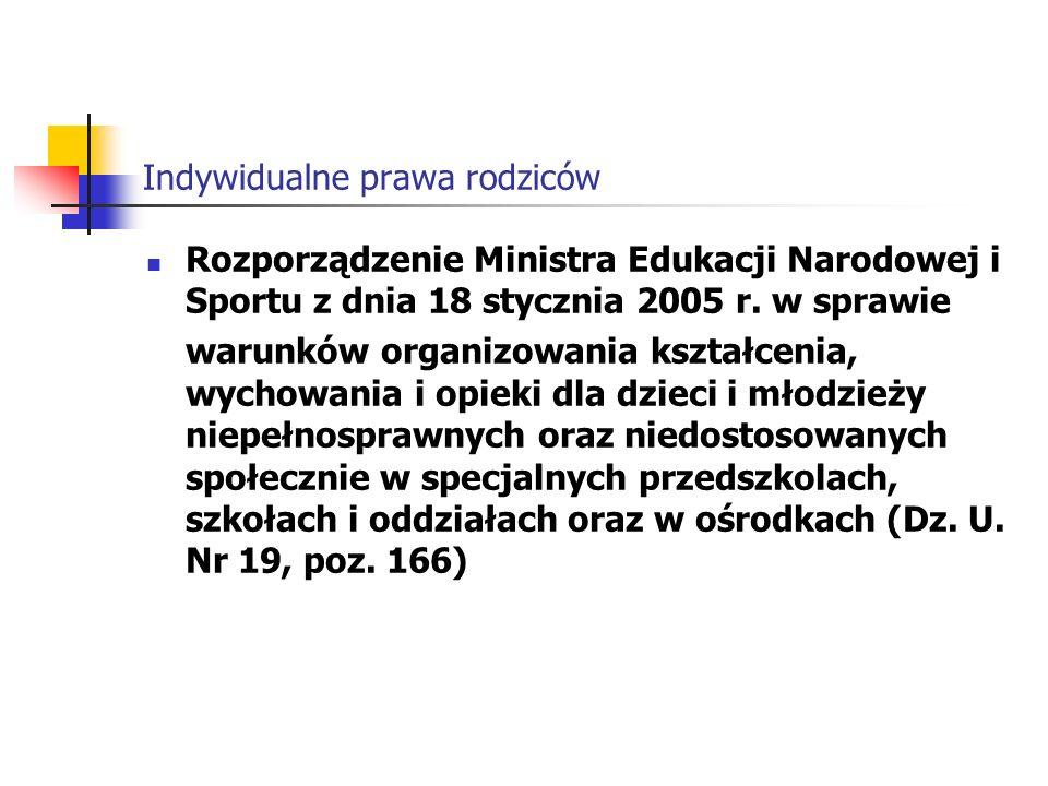 Indywidualne prawa rodziców Rozporządzenie Ministra Edukacji Narodowej i Sportu z dnia 18 stycznia 2005 r.